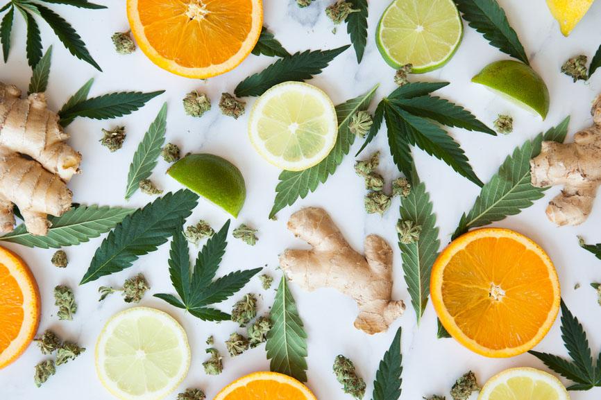 Hemp Leaves, Flowers, Ginger, Oranges, Lemons, Limes