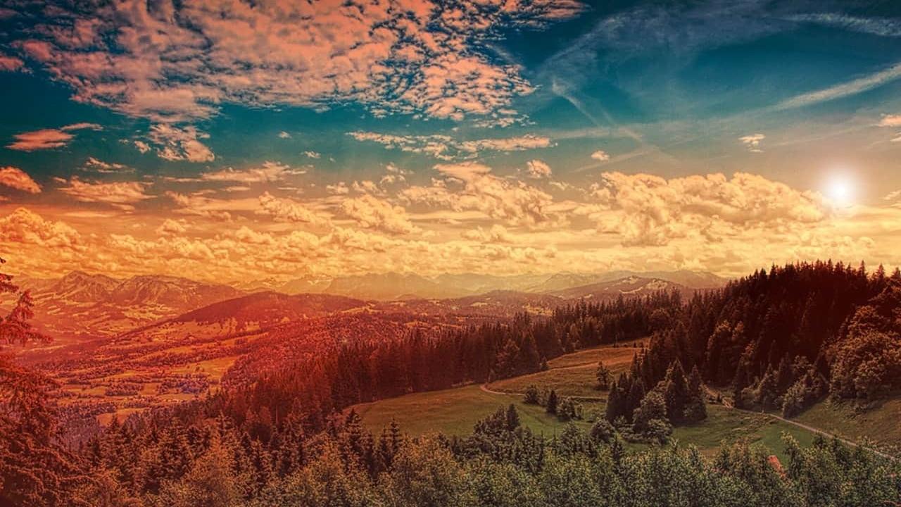 Clouds daylight forest landscape