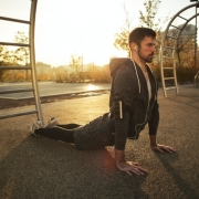 man doing daily exercise