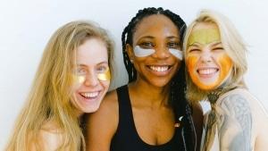 Three women with DIY Facial strips