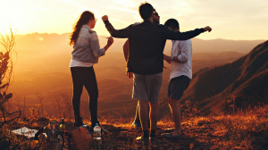 Happy people dancing after having taken some CBD Tincture from Synchronicity Hemp Oil